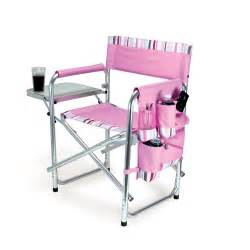 Sports camping chair w pockets and side table pink with stripes
