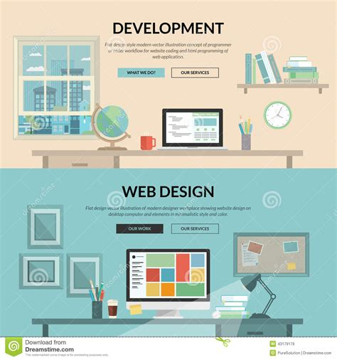design web page html language set of flat design concept for web development stock