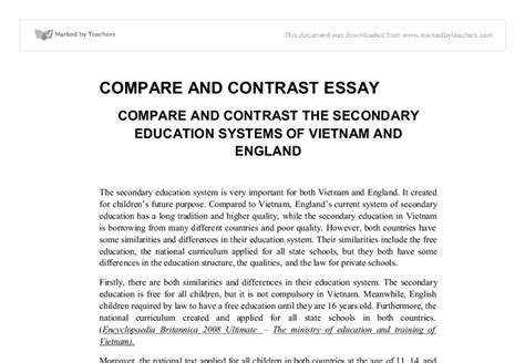 Education In America Essay by Comparecontrast Essay Outline