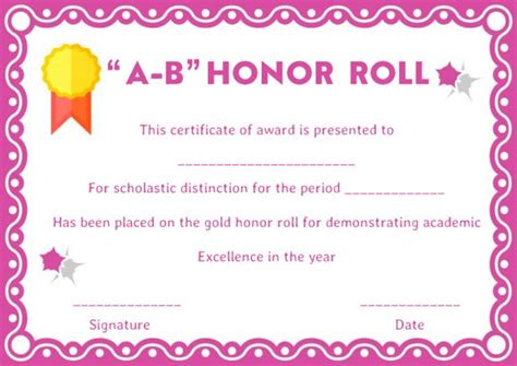 a b honor roll certificate template honor roll certificates 12 templates to reward teachers