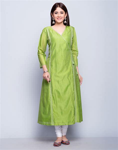 Buy Fabindia Light Green Silk Cotton Anghrakha Mukaish Detail Long Kurta online   Fabindia.com