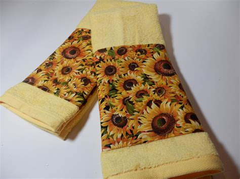sunflower bathroom sunflower bath towels yellow terry cloth handmade in nj