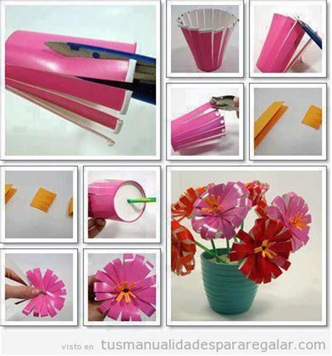 flores vasos de plastico de cafe papel macetas manualidades dia de la maceta archivos manualidades para regalarmanualidades
