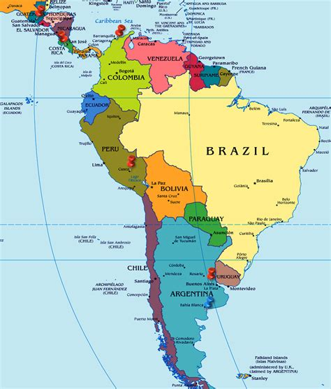south america map with country names south america countries capitals currencies