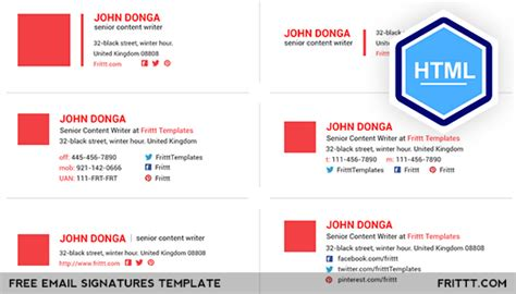 html email signature templates free free email signatures html template on behance