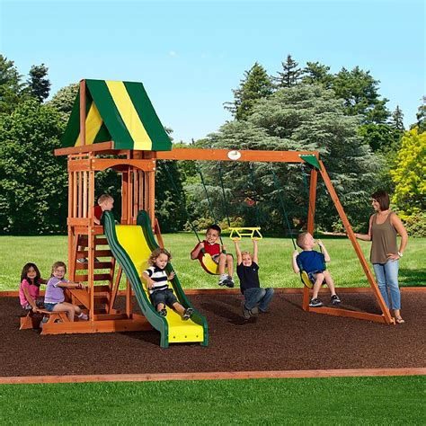 backyard wooden swing set backyard discovery 65112 prestige wood swing set sears outlet