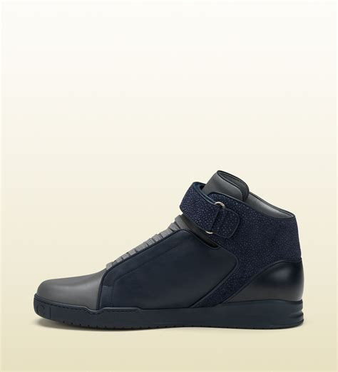 velcro sneaker lyst gucci leather and pebbled suede hightop velcro