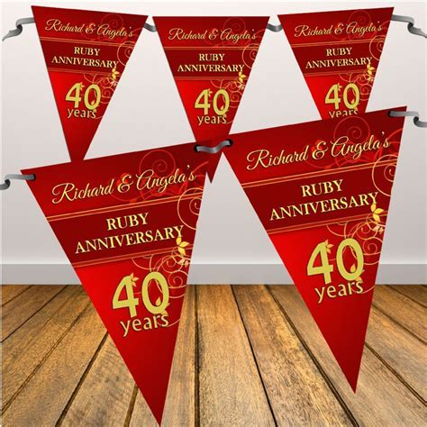Personalised Ruby 40th Wedding Anniversary Flag Banner   N9