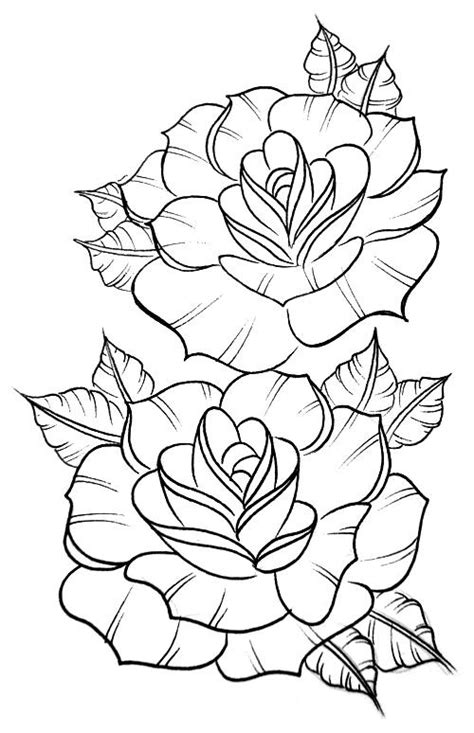 coloring pages of real roses traditional roses sketched in pencil crayon outlined in