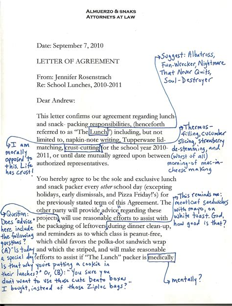 Sle Letter Of Agreement Between Husband And School Lunch Debate Dinner A Storydinner A Story