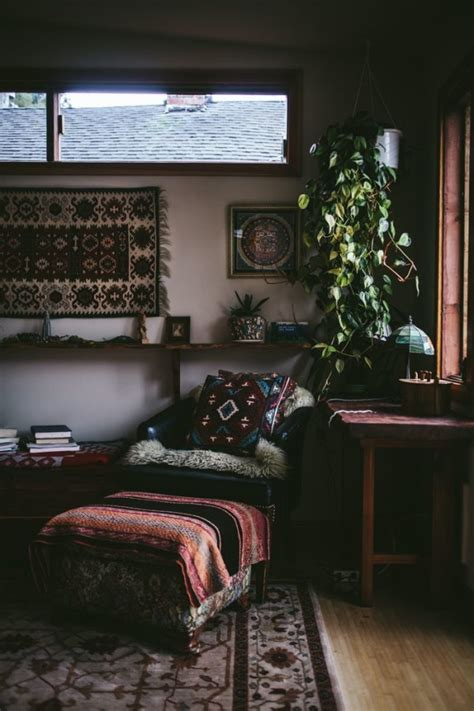 houseplant for dark room bohemian chic interior decor relaxed aesthetic dark