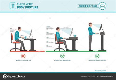 Correct Desk Ergonomics by Assento Correto Em Ergonomia Postura De Mesa Vetores De