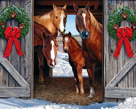 christmas wallpaper with horses horse barn christmas f1 horses animals background
