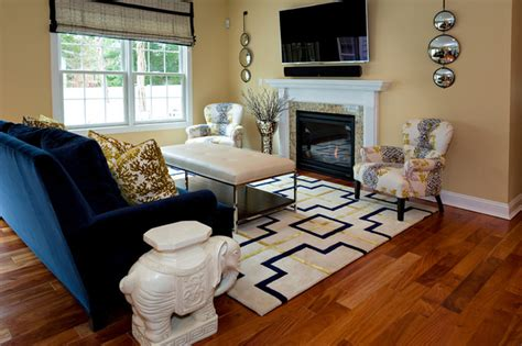 Navy Blue And Gold Living Room by Transitional Spaces Transitional Living Room