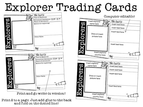 trading card template printable snaps explorers trading cards