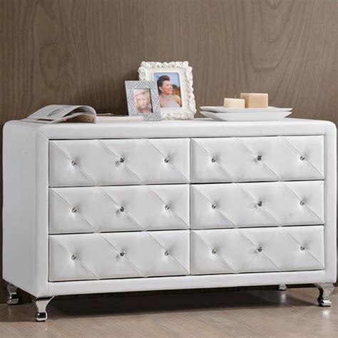 baxton studio harlow 6 drawer white and medium brown wood
