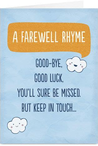 goodbye and luck card template farewell rhyme goodbye poem poem and cards