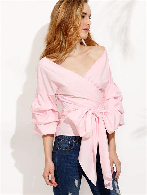 Tie Waist Blouse 8280 ruched sleeve bow tie waist surplice blouse shein sheinside