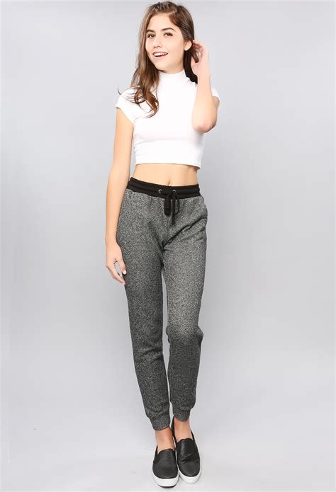 girls gray and black joggers pants black grey mix jogging pants shop holiday gift ideas at
