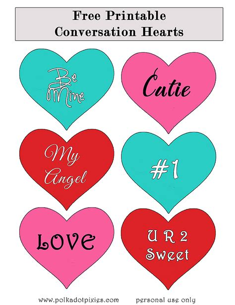 printable images of valentine hearts printable valentine conversation hearts