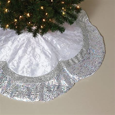 48 inch white and silver faux silk christmas tree skirt
