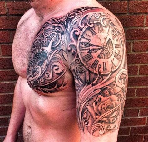 tattoo from chest to arm realistic analog watch tattoo on arms and chest tattoos
