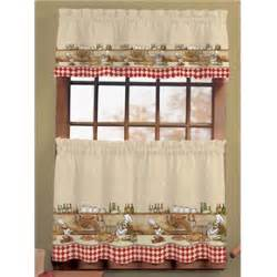 Chef Kitchen Curtains Set Italian Chef Window Curtain Set Kitchen Valance Tiers Scarbrough Faire