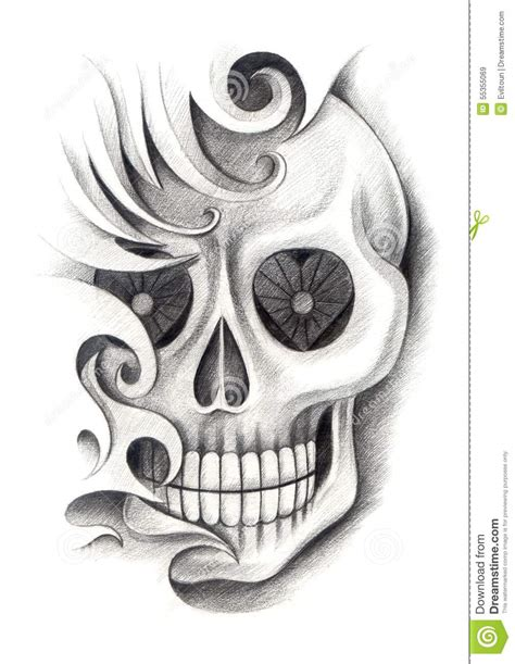 pencil drawings of tattoo designs skull stock illustration illustration of