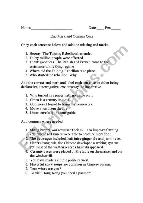 Comma Quiz Printable worksheets commas quiz