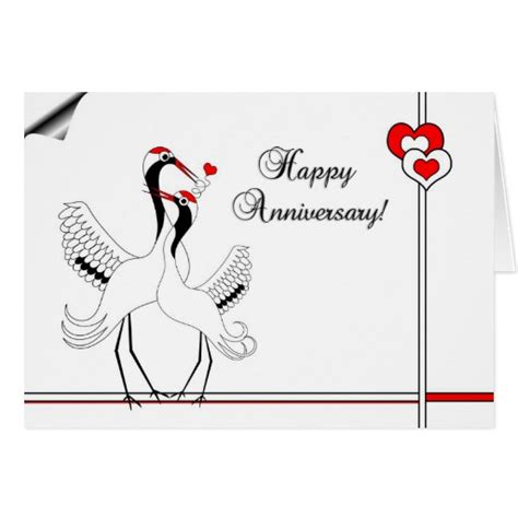 Happy Wedding Wishes Japanese by Japanese Cranes Happy Anniversary Card Zazzle