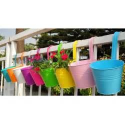metal iron flower pot hanging balcony garden plant planter