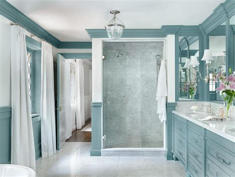 dual washstand with blue and gray hex tiles