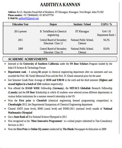 chemical engineering resume format 20 engineering resume templates in pdf free premium templates
