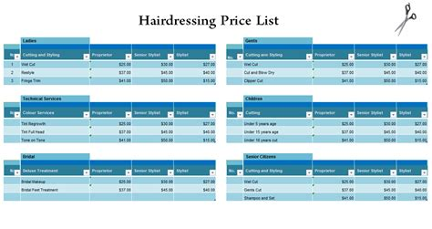 hairdressing price list template free hairdressing price list template blue layouts
