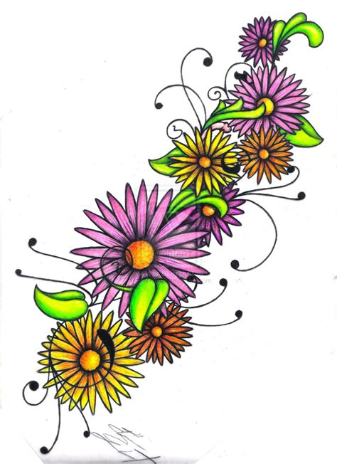 colorful flower tattoo designs 20 designs