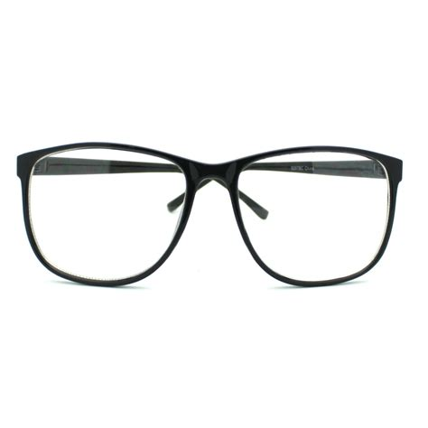 Big Frame Glasses black large nerdy school clear lens thin horn