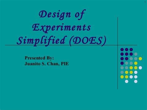 design experiment ppt design of experiments lecture 2