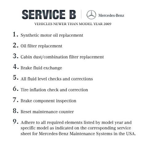 mercedes service b checklist