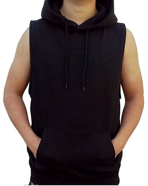 Vest Hoodie Black mens hooded sweater vest sweater