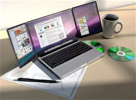 extended laptop screens: apple tribook has fold out panels