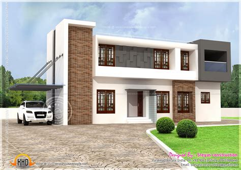 roof style homes flat modern house plans one story