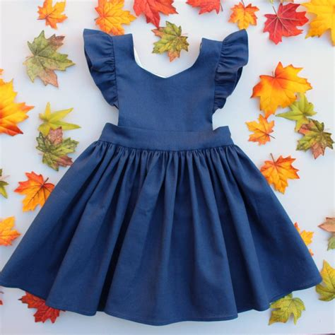 pinafore pattern 2 year old cora pinafore dress in navy linen for baby toddler little