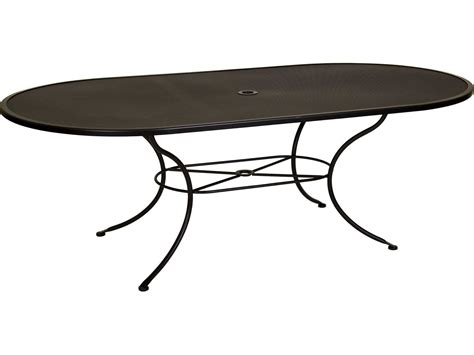 Wrought Iron Patio Dining Table Ow Mesh Wrought Iron 84 X 44 Oval Dining Table With Umbrella Ow4484ovmu