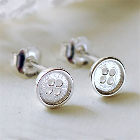 tiny silver button stud earrings by highland