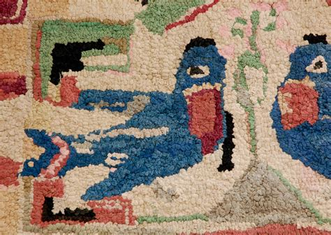 pa rug folky hooked mounted blue birds rug from pennsylvania for sale at 1stdibs