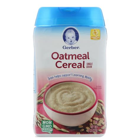 Gerber Rice Cereal Oatmeal Cereal gerber oatmeal cereal single grain 8 oz 227 g iherb