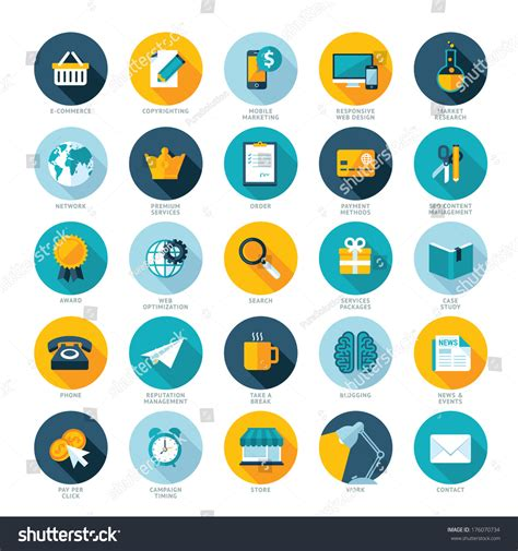 icon design management set flat design icons ecommerce pay stock vector 176070734