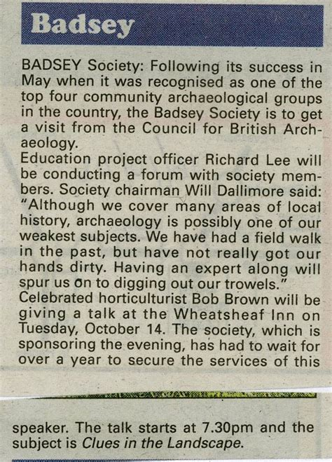 society section newspaper news article 2008 oct 16 badsey society news in the