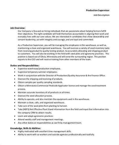 supervisor description template doc 460595 manufacturing supervisor description