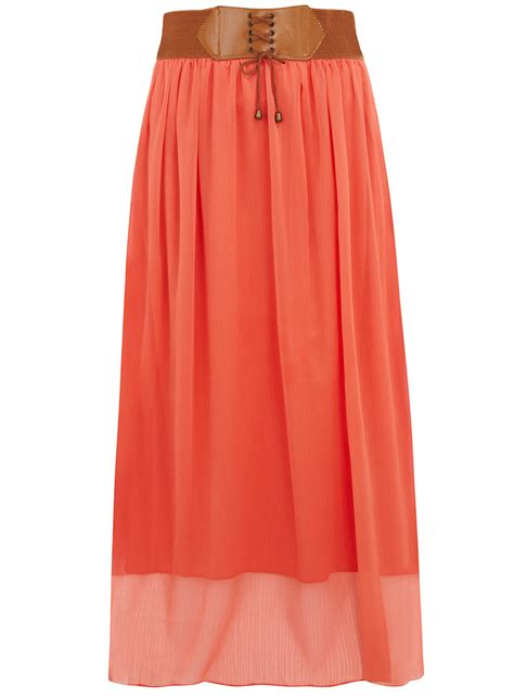 coral belted boho maxi skirt datiyah modest